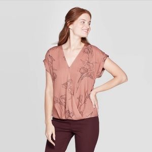 A New Day Muted Floral Faux Wrap Top